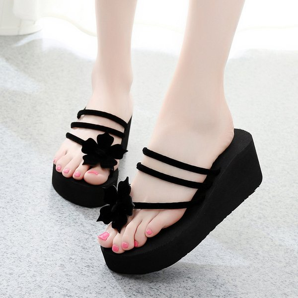 New Summer Retro Fashion Designer women floral slippers female's Flip-Flops Luxury Slide pvc high-heels sandals Bow Wide Flat Slippery shoes