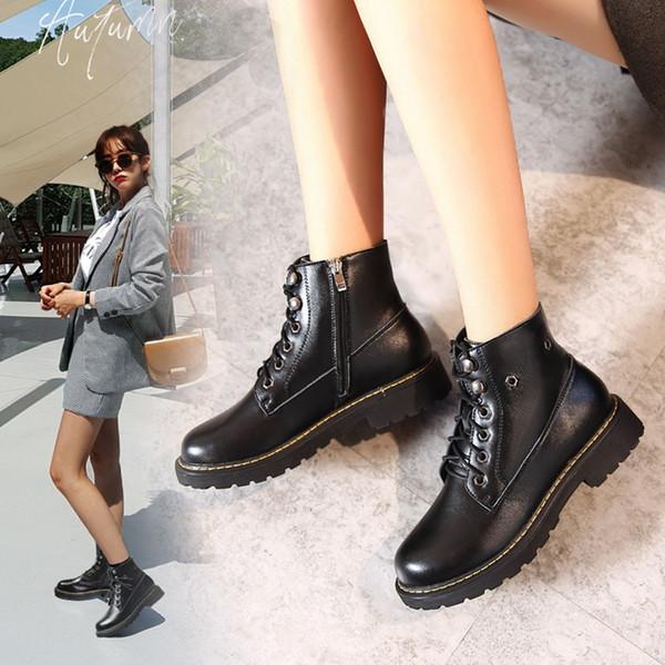 черные ботинки лодыжки Классические ботинки Прохладный Zip Лодыжки Мягкая Обувь кожа зима снег женщины Botas Largas 7 # 3.5