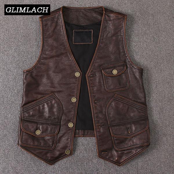 2019 New Vintage Echtes Rindsleder Weste Mens Sleeveless Slim Echtes Leder Viele Taschen Braun Motorradjacke Männliche Weste