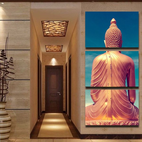 Modern Home Decoration Popular Canvas For Living Room 3 Pieces/Pcs Buddha Back Painting Art Wall HD Modular Picture Prints Poster