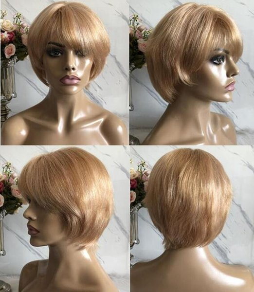 Celebrity Wig Blonde Color Lace Front Human Hair Wigs Blonde Cut Wigs Honey Blonde Short Wigs Indian Human Hair Wig Full Lace Wig