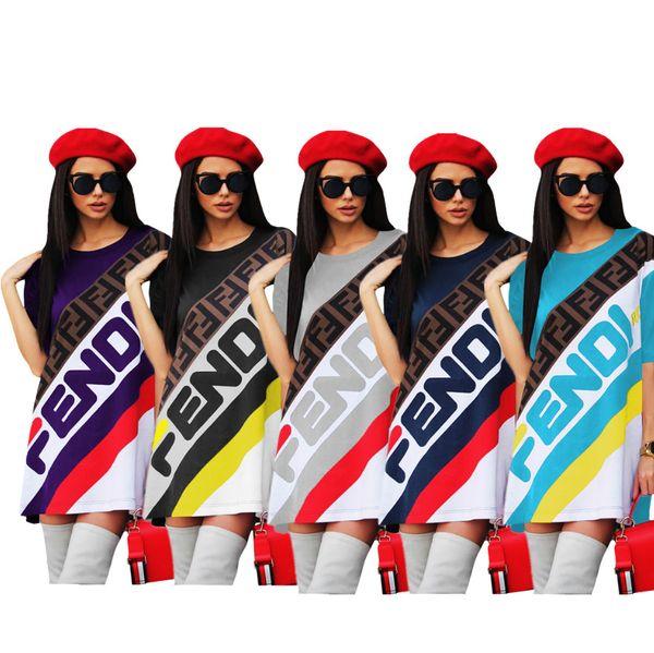 Women F Letter T-Shirt Designer Dress Sports Skirt Summer Short Sleeve Striped T shirts Tee Dresses Loose Sportswear one piece Skirt C436