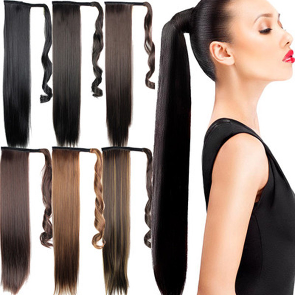 Fibra sintética para el cabello Pieza de extensión Invisible Pedazo largo y recto para el cabello Multicolor Cola de caballo Fibra de alta temperatura