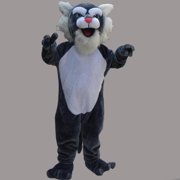 Adult Mascot Costume Leopard Cat Halloween Christmas Birthday Character Costume Dress Gray Cat Mascot Free Shipping