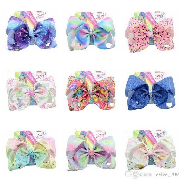 Bébé Designer Jojo Siwa 15colors 8inch cheveux Bow nouvellement arrivés Fish Scales effilé 8 pouces grand arc Hairpin enfants S Hairpin Jam