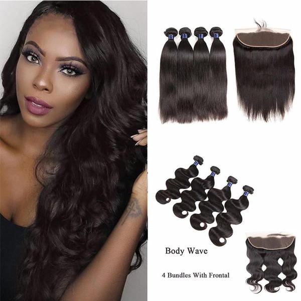 Indian Human Hair Bundles With Frontal Cheap Hair Bundles With 13*4 Lace Frontal Body Wave Straight Brazilian Virgin Hair Extensions