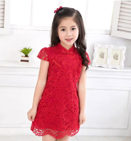 Abito in stile cinese estivo nuovo arrivo vestito tradizionale in qipao di pizzo rosso cheongsam per ragazze abiti da principessa per bambini