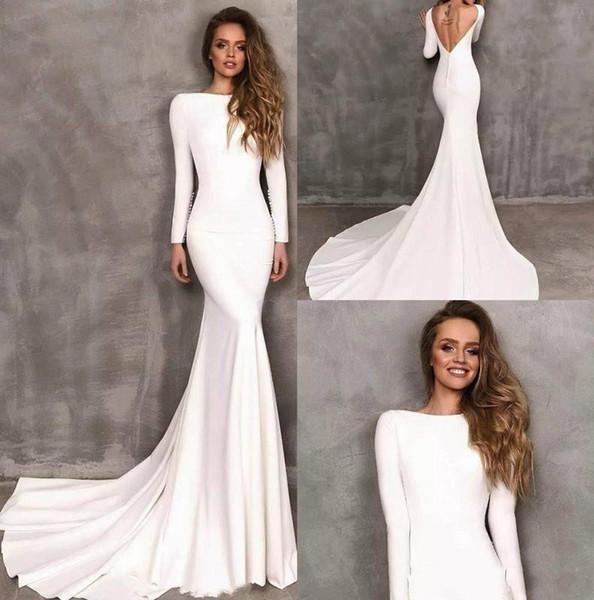 top popular 2020 Simple Berta Mermaid Wedding Dresses Stretch Satin Long Sleeve Backless Bridal Gowns vestidos de novia Wedding Dress Custom Made 2019