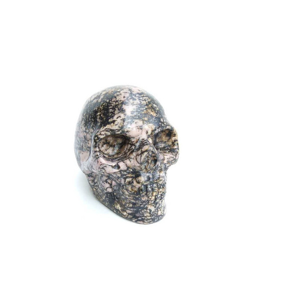 Customized Wholesale Natural Rock Hand Carved Rhodonite Crystal Stone Crystal Skull sculpture for home healing decoration