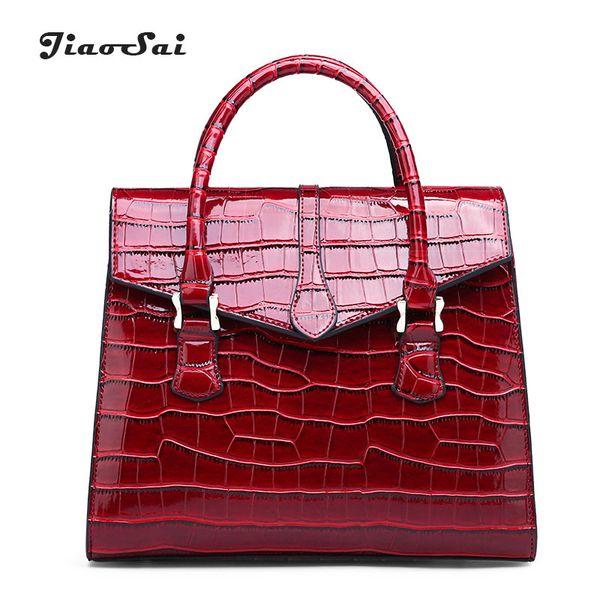 Red Crocodile Patent Leather Tote Bag Women Handbags New Luxury Women Bag Designer Crossbody Shoulder Messenger Trunk Bolsa