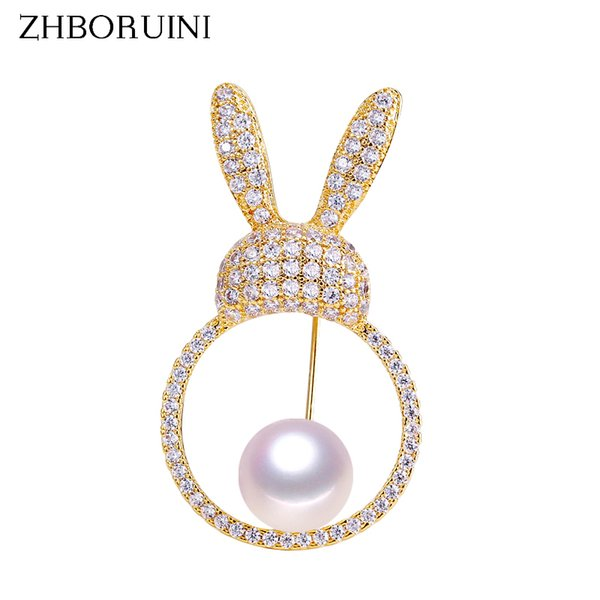 ZHBORUINI 2019 Natural Freshwater Pearl Brooch Fine Zircon Microinlay Lovely Totoro Brooch Pearl Jewelry For Women Not Fade Gift