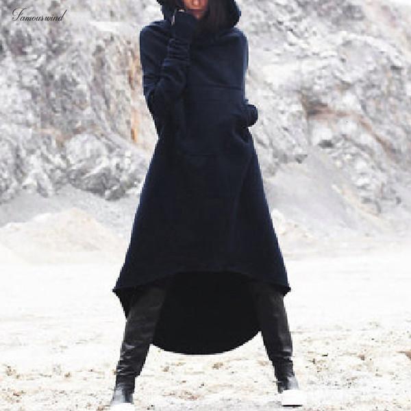 Vestido Mulheres manga comprida com capuz velo Hoodies Casual Irregular Inverno Hem longa camisola Vestido Top Oversized Moda