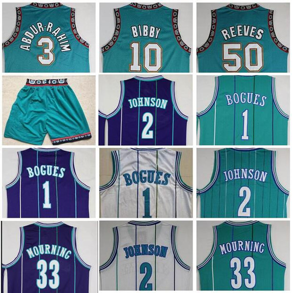 best selling Wholesale BestQuality Vintage Mike Bibby Jersey Cheap Shareef Abdur Rahim Bryant Reeves Muggsy Bogues Larry Johnson Alonzo Mourning Stitched