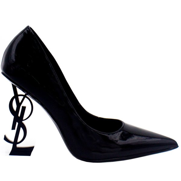 Designer Women High Heels Leather Shoes Pointed Toe Bride Wedding Evening Prom Party Dress Shoes For Sexy Ladies Fashions Black Pumps 9cm