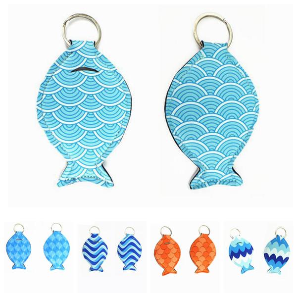 Forma de pescado neopreno chapstick titular llavero Niñas Anillos Creativos Mini Brillo de Labios Bolsa Bolsa Favor de la Fiesta Regalos de Las Mujeres FFA2044