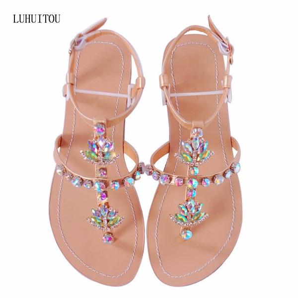 2018 NEW Women`s summer bohemia diamond sandals women beach shining rhinestones shoes T-strap thong flip flops