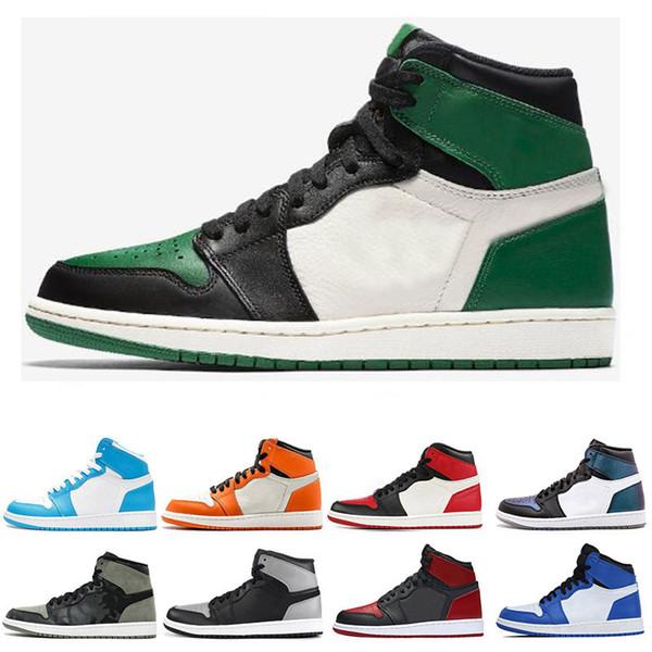 speical offer differently great deals Großhandel Nike Air Jordan 1 1s Top Mode 1 1s Männer Basketball Schuhe  Fragment New Love Schwarz Toe Gold Top 3 Pine Green Shadow Camo Chicago  Sport ...