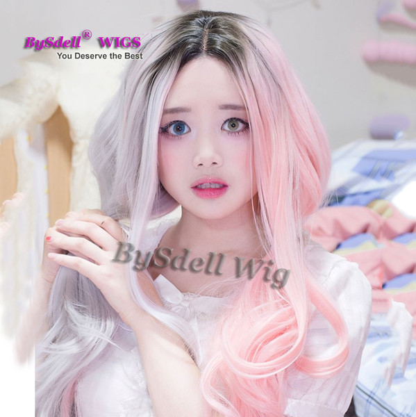 Harajuku style two tone grey joint pink color hair wig with short black roots synthetic long loose wave pastel hair lace front wigs