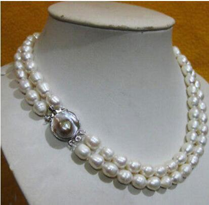 """FREE SHIPPING >Double strands natural 12-14 mm south sea white pearl necklace 18""""19''nice"""