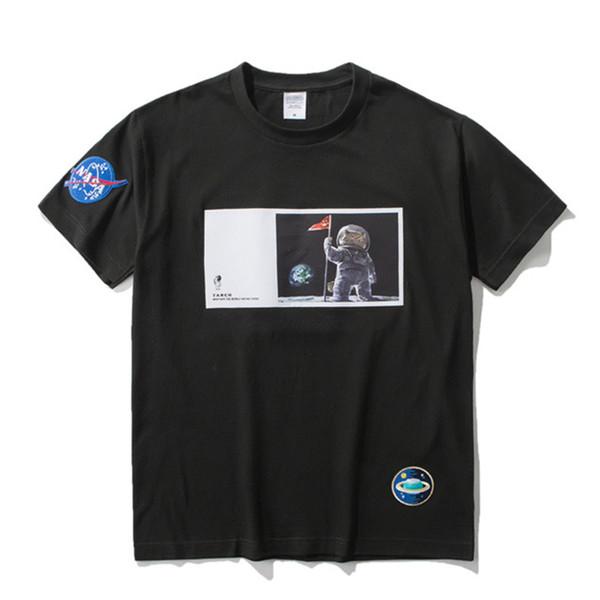 NASA Designer T Shirts 19ss Astronauta Impresso Mens Designer T Camisas Nasa Homens Mulheres Tees Tamanho S-XL