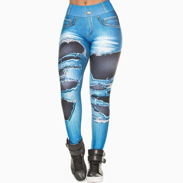 Leggings Femmes 2019 Jeans Impression Leggings Mettez Hip Élastique Taille Haute Legging Respirant Pantalon Mince Leggins fitness legging