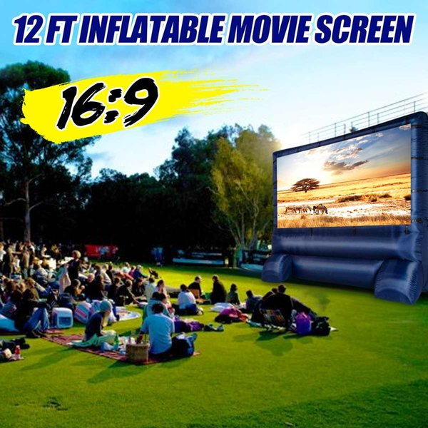 16:9 Large Screen 12 Widescreen Home Family Airblown Inflatable Movie Screen Decor Party Meeting Backyard Outdoor