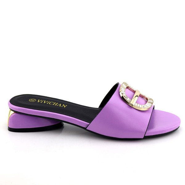 Purpl Color African Lady Slippers 2019 Summer Low Heels Women Shoes High Quality African Sandals Pumps Shoe for African Wedding