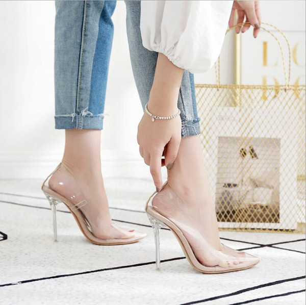 2019 Summer Sexy Transparent PVC Women Crystal Clear Stiletto heeled Party Wedding Shoes Woman High Heels Pumps