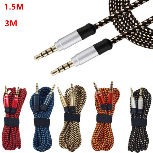 best selling 3.5mm Auxiliary AUX Extension Audio Cable Unbroken Metal Fabric braided Male Stereo cord 1.5M 3M for iphone Samsung MP3 Speaker Tablet PC