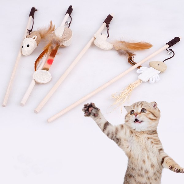 Cat Toys Kitten Pet Teaser Mouse Interactive Stick Toy Stick Chaser Wand Toy Pet Toys 7 Styles DHL Free Shipping