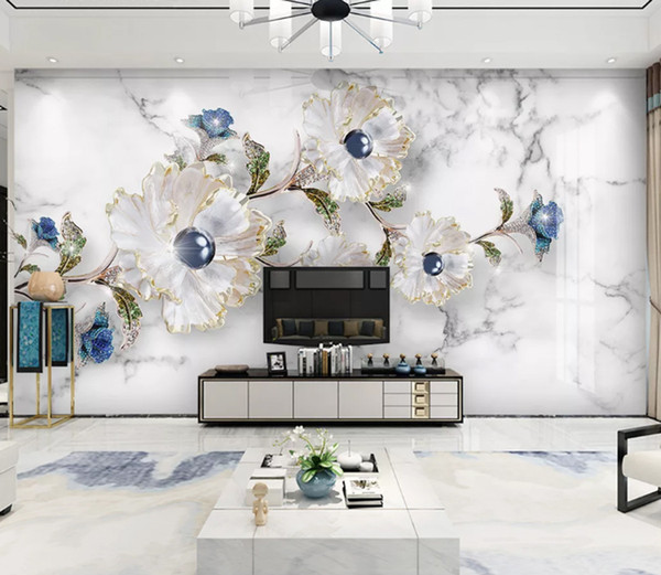 3D Elegant jewels wallpaper Embossed Crystal Diamonds Photo Wallpaper Mural Flower Jewelry Pearls Sofa TV Background Wall Decor papier peint