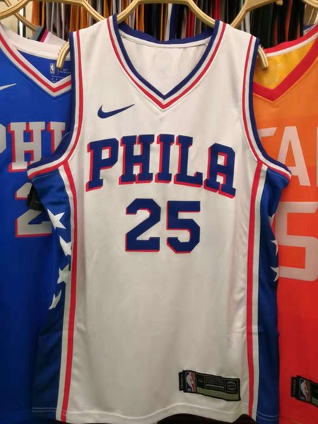 best service a31b8 ac5f0 2019 2020 New Mens 76ers 25# Ben Simmons Home White Swingman Basketball  Jersey AU Hot Pressing Printed Name Number Authentic US Size XS XXL From ...