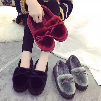 kış ev kaymaz Kadın pamuk terlik moda çanta sıcak yumuşak alt ay ayakkabı kapalı kat kürk bezelye ayakkabı yastıklı