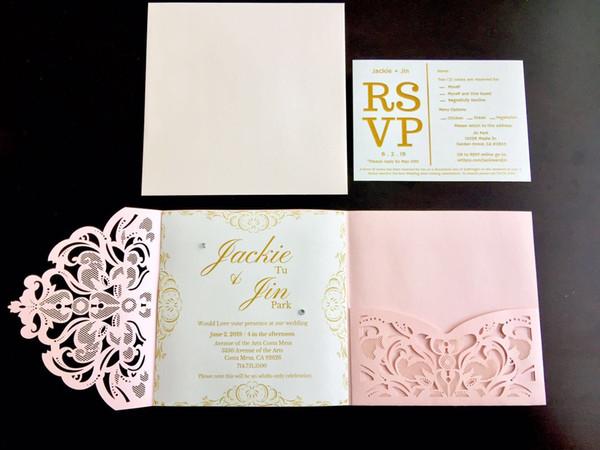 Compre Real Made Flower Invitación Nupcial Tarjeta única Corte Por Láser Invitaciones De Boda Tarjetas Color Rosado Personalizado En Blanco