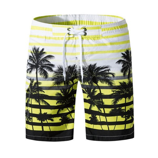 Men Casual Print Mid Waist Shorts Quick-drying Swim Trunks Summer Beachwear Thin Knee Length