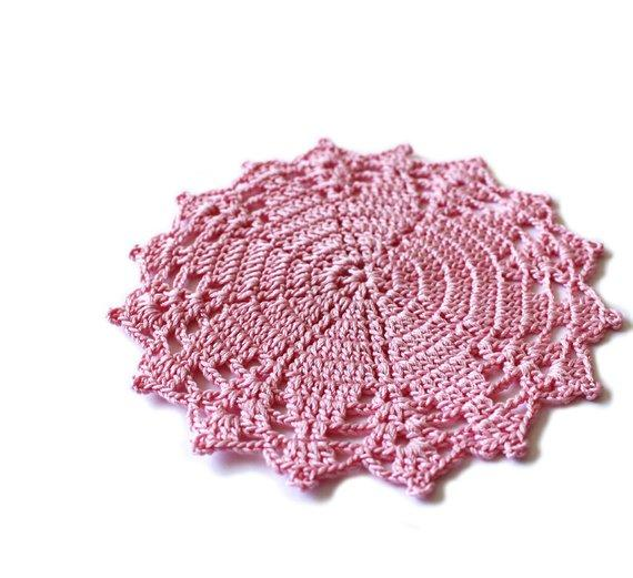 6PCS Handmade Crochet pink cotton coasters set of 4, round small doilies Farmhouse style romantic decorative unique placemats