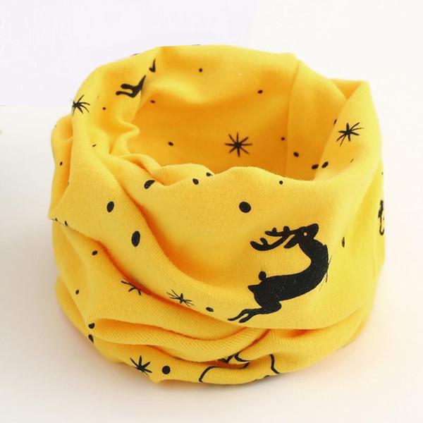 Cartoon Snow Deer Print Winter Baby Girls Scarf Cotton Boy Scarf Gift Autumn Children Bib Toddler Warm Neck Collars