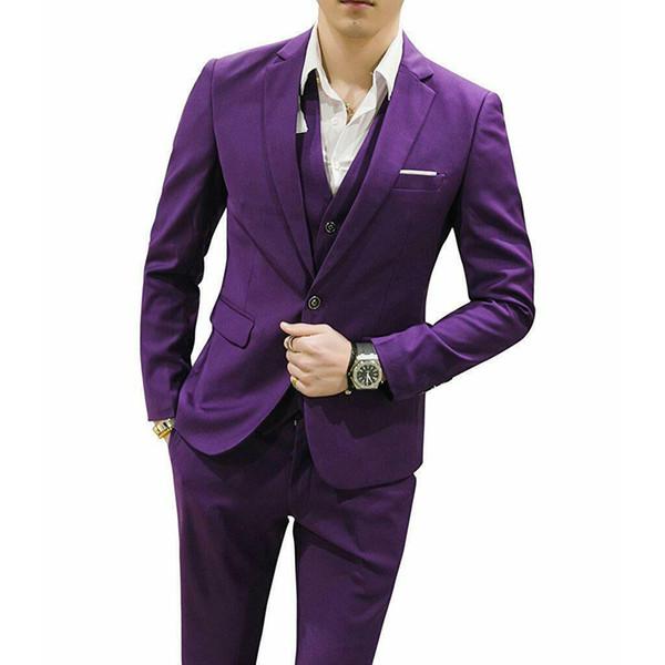 Purple Mens Suits Slim Fit Groomsman Suit 3 pièces de smoking Tuxedos Costumes sur mesure de mariage Blazers Purple Hommes (Veste + pantalon + veste)