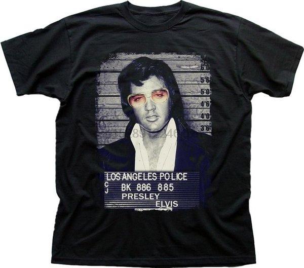 Elvis Presley Roi De Rock Prison Photo Noir Imprimé T-shirt FN9352 Qualité Imprimer Nouveau Style D'été En Coton T-shirt
