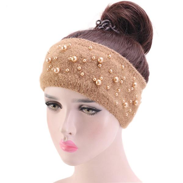 New Outono Inverno malha Headband Mulheres Acessórios de cabelo de pele de coelho Elastic Grande Scarf Cabelo Hairband Bead cabeça banda Headwear