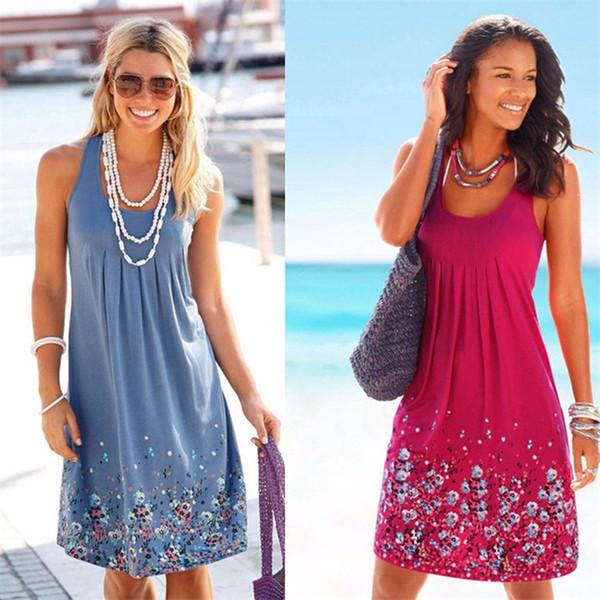Boho floral sin mangas Midi vestidos 10 estilos mujeres imprimir verano bolsillos del cuello plisado sin espalda vestidos botón OM1032