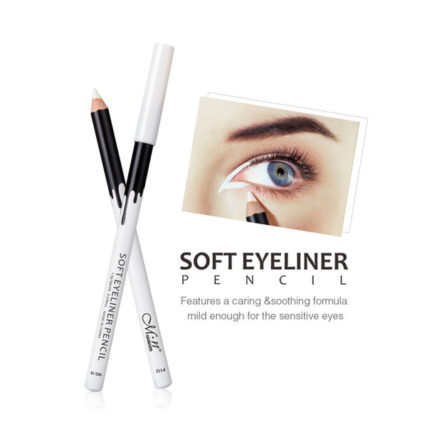top popular wholesale Menow P112 12 pieces box Makeup Silky Wood Cosmetic White Soft Eyeliner Pencil Menow highlight pencil 2021