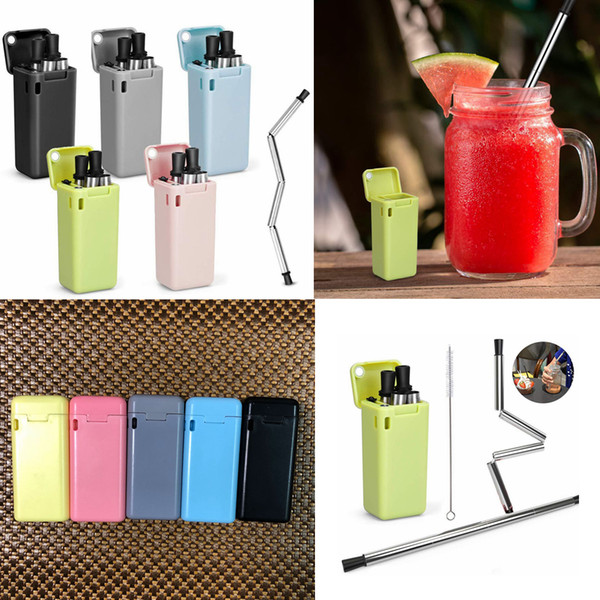 5styles Collapsible Stainless Steel Straw flod Rust Proof Reusable with Cleaning Brush Kit Kitchen Drinking Straw drinking tool FFA2315
