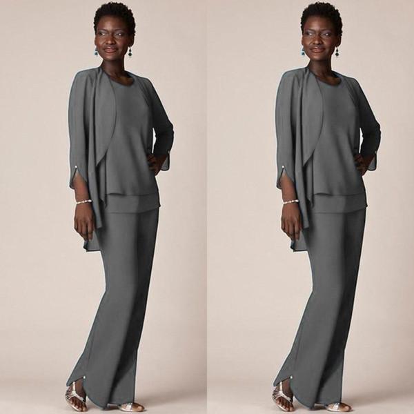 Gri Şifon Örgün Pant Anne Damat Elbiseler Akşam Suits Giymek Uzun anne Ceket ile Gelin Elbiseler Artı Boyutu Custom Made