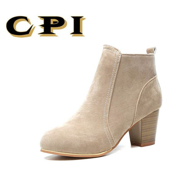 Designer Dress Shoes CPI Fashion Ankle Boots for Women Round Toe Boots Spring Autumn High Heels Platform Woman Zip Sexy Women NX-031