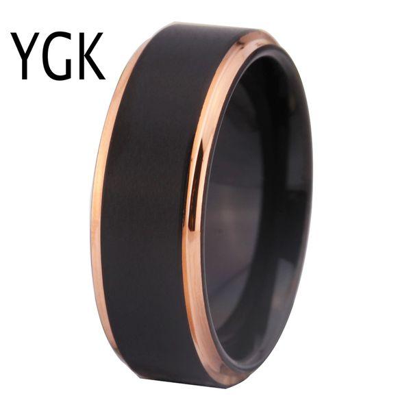 Вольфрамовые обручальные кольца для женщин мужские классические обручальные кольца черный матовый с розовым золотом шаг вольфрамовое кольцо Comfort Fit Design Y19051002