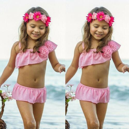 2019 Kid Girls One Shoulder Swimming Bikini Costume Swimwear Swimsuit Beach Clothes