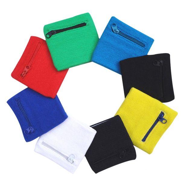 1 Pz Zipper Pocket Cotton Wristband Outdoor Fascia del Braccio Fascia di Polso Supporto Wristband Cerniera Avvolge Sport Strap Wrist Protect # 103579