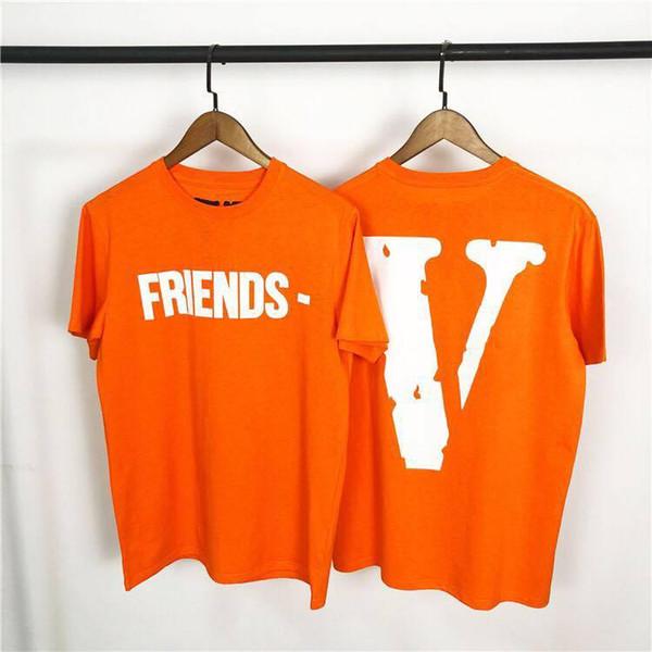 Vlone Friends Orange T-Shirt Männer Frauen T-Shirt Harajuku T-Shirt Punk Hip Hop Streetwear Marke Sommer Baumwolle Kleidung Druck T-Shirts Tops 2019