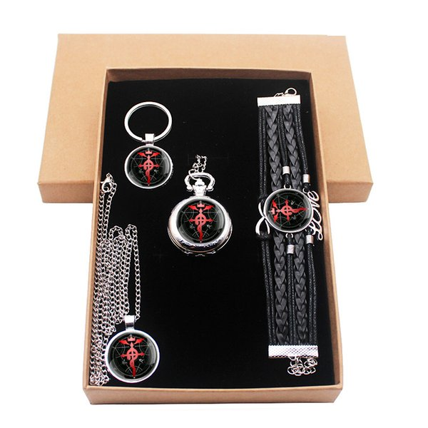 Fashion Fullmetal Alchemist Creative Jewelry Gift Set Have Pocket Watch And Pendant Necklace And Key chain Bracelet With Box